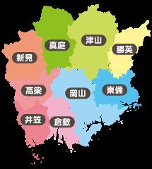 岡山県簡易地図